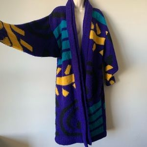 Vintage 90s mohair abstract open cardigan duster